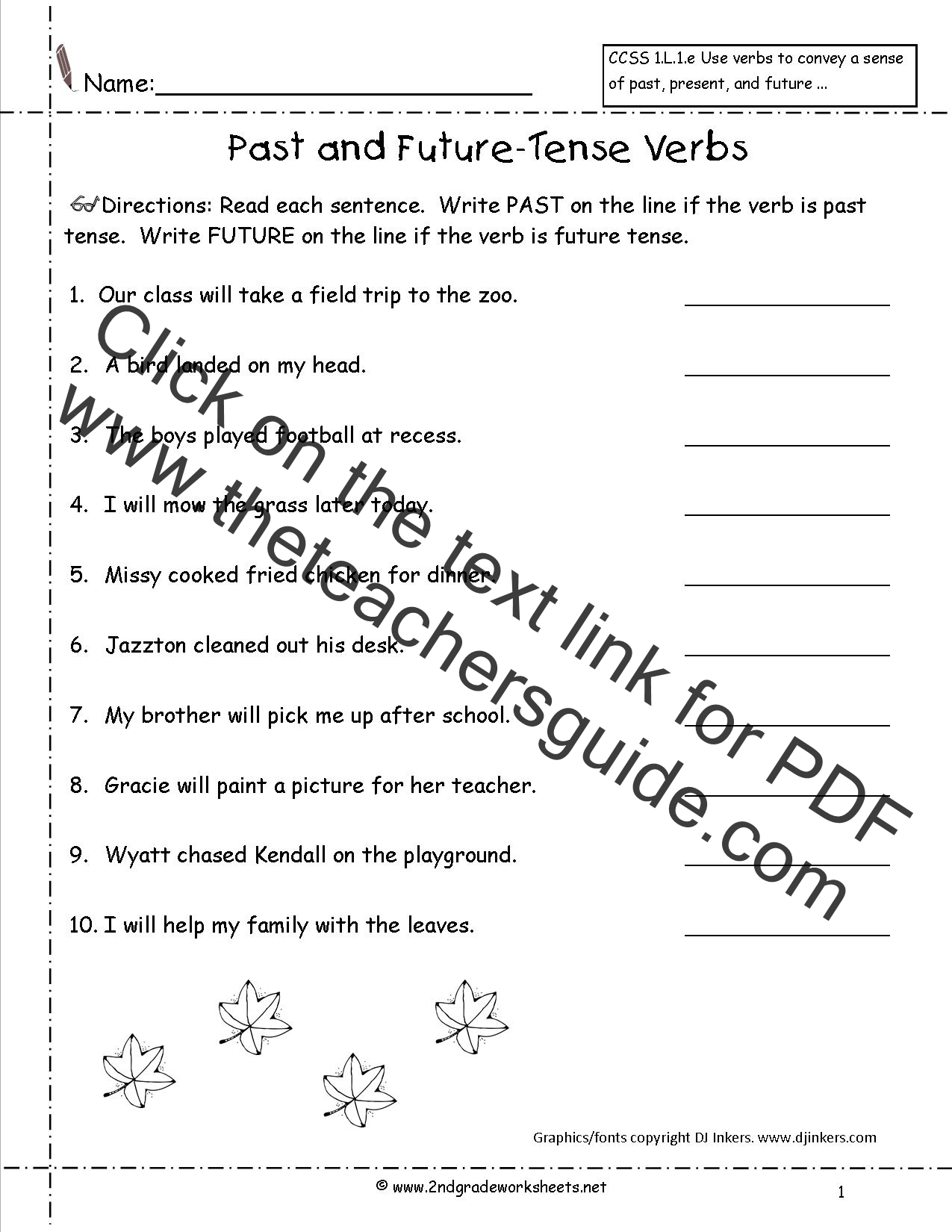 Past Present Future Tense Worksheet 1st Grade