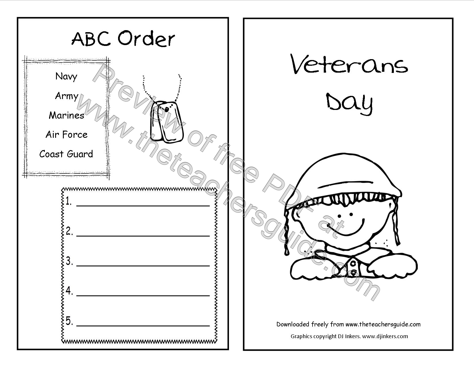 Veterans Day Printouts From The Teacher S Guide