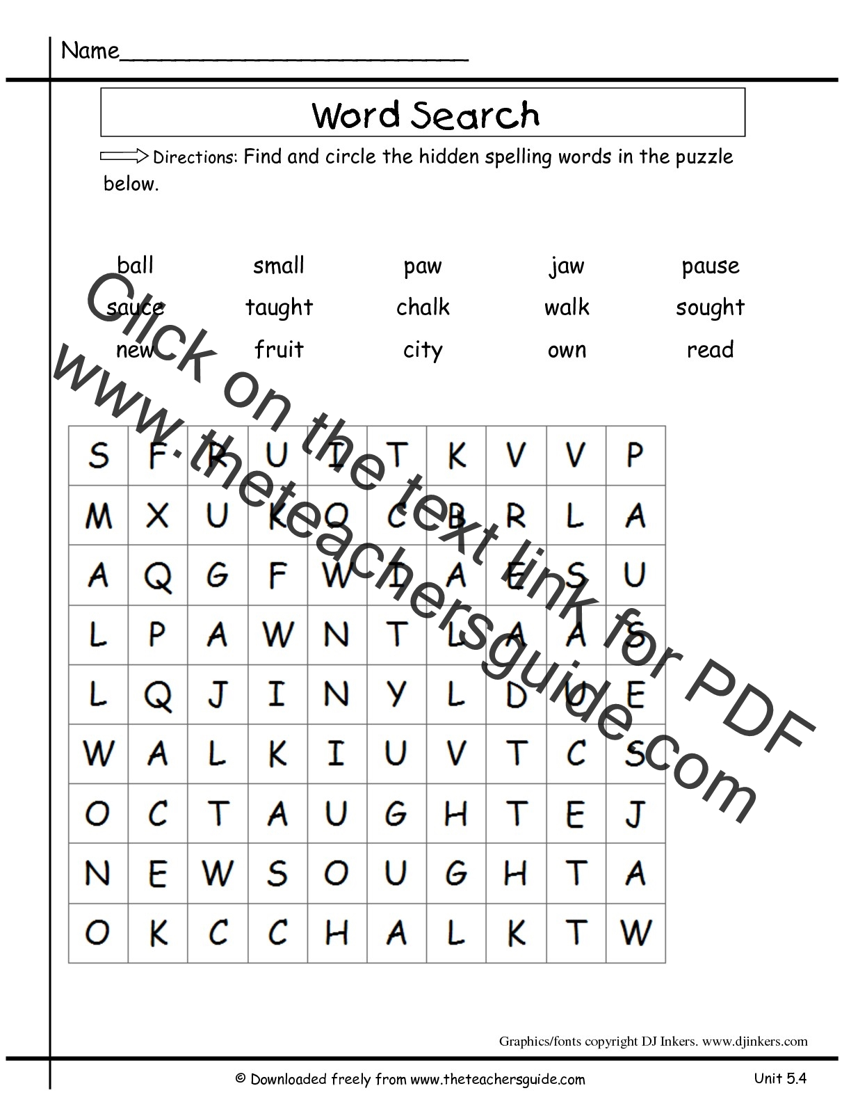 Homophone Word Search