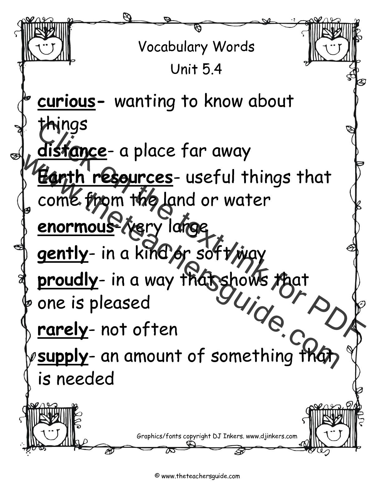 Wonders Second Grade Unit Five Week Four Printouts