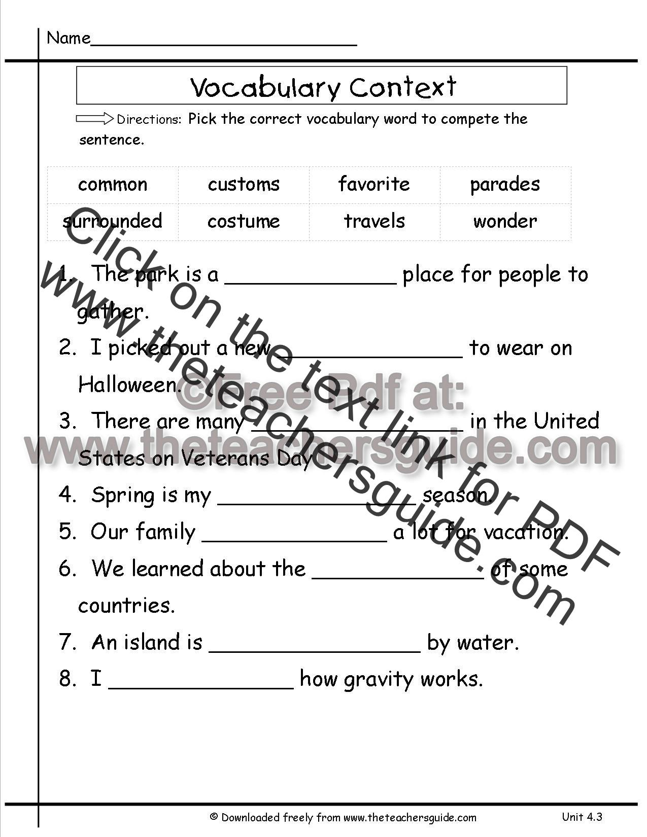 Wonders Second Grade Unit Four Week Three Printouts
