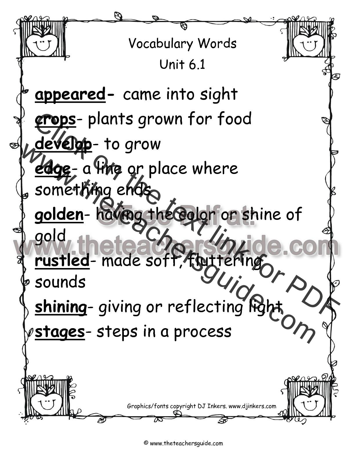 Wonders Second Grade Unit Six Week One Printouts