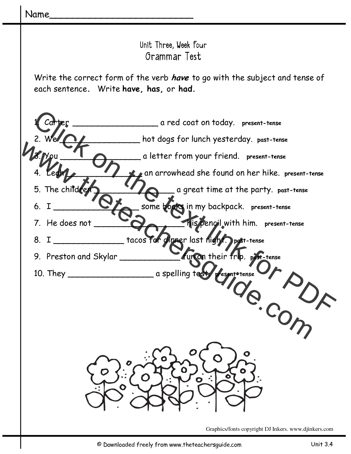 Worksheets For Grammar 2nd Grade