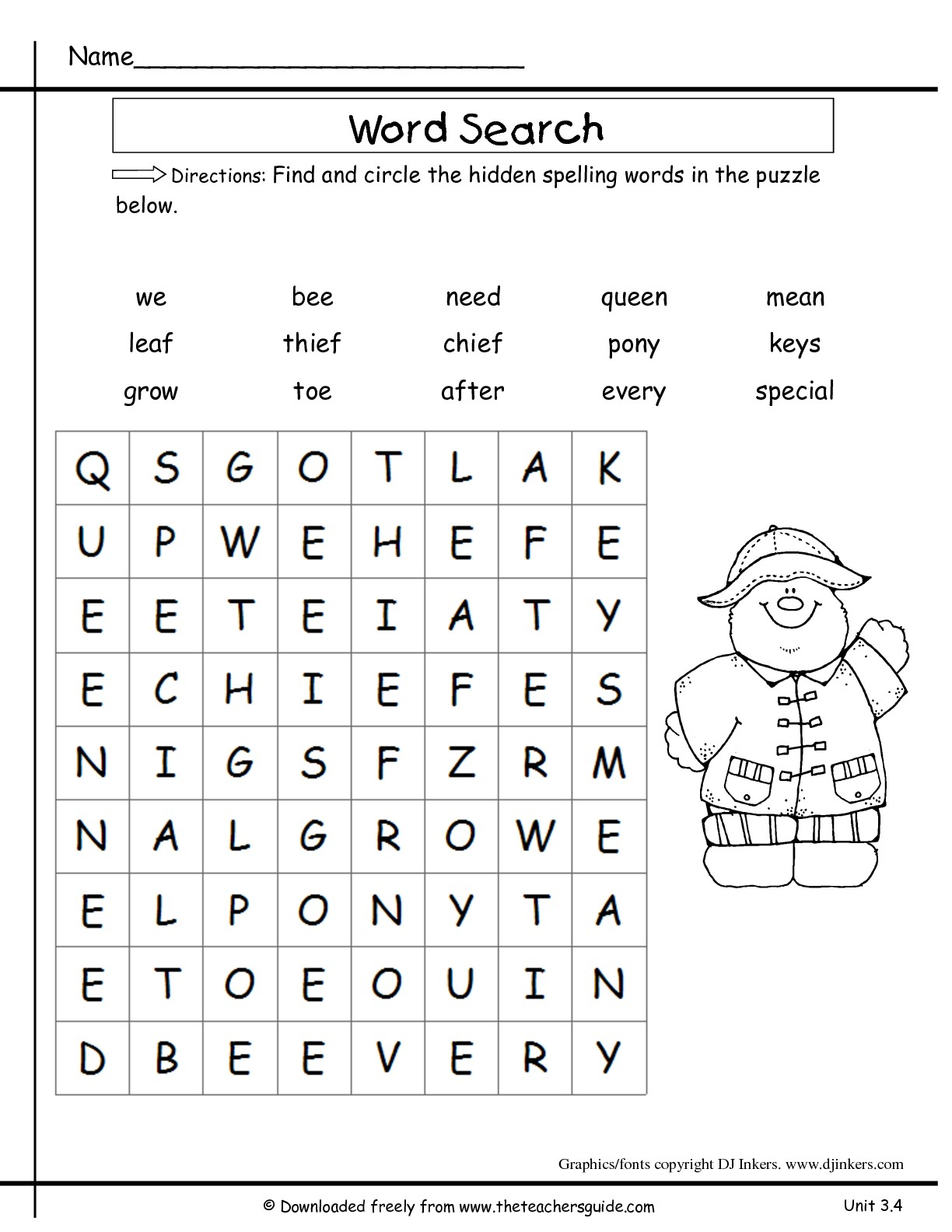 Spelling Words For 2nd Grade