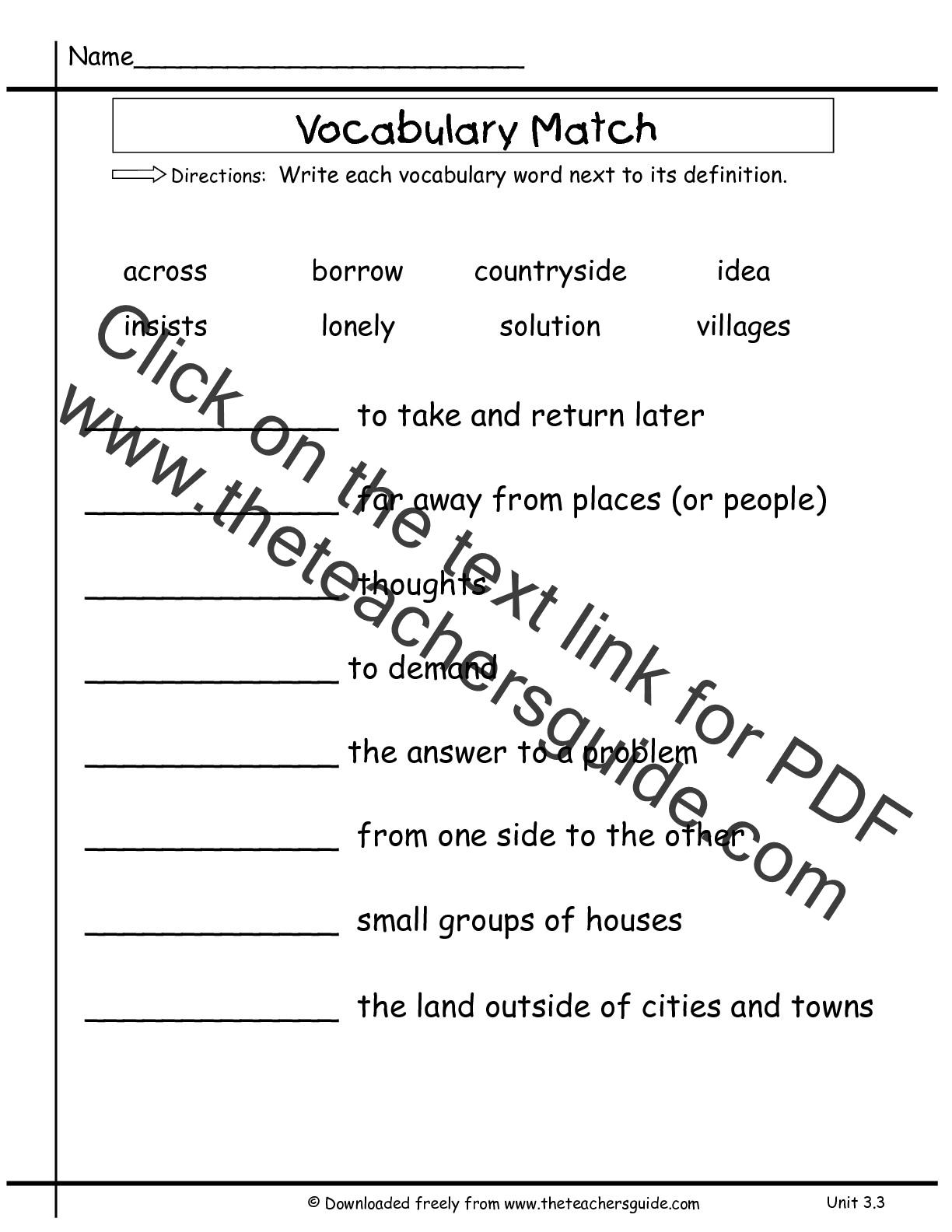 Wonders Second Grade Unit Three Week Three Printouts