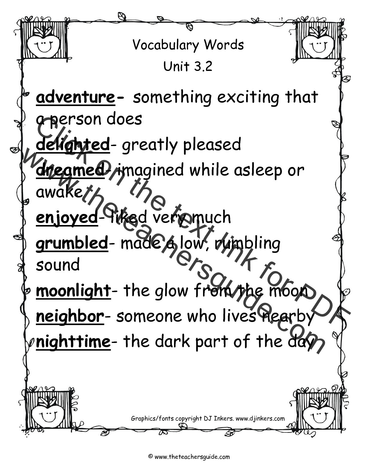 2nd Grade Vocab Worksheet