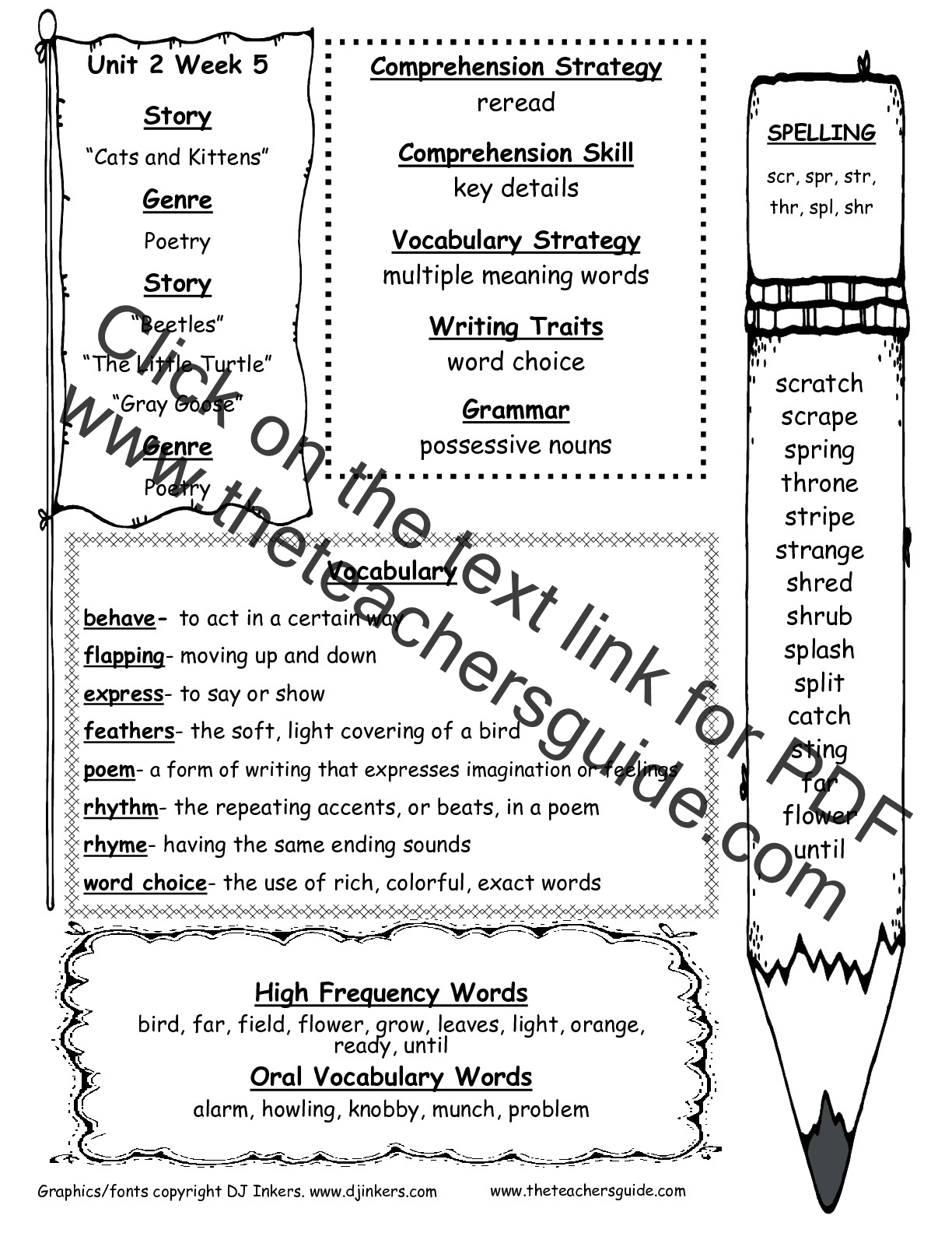 Wonders Second Grade Unit Two Week Five Printouts