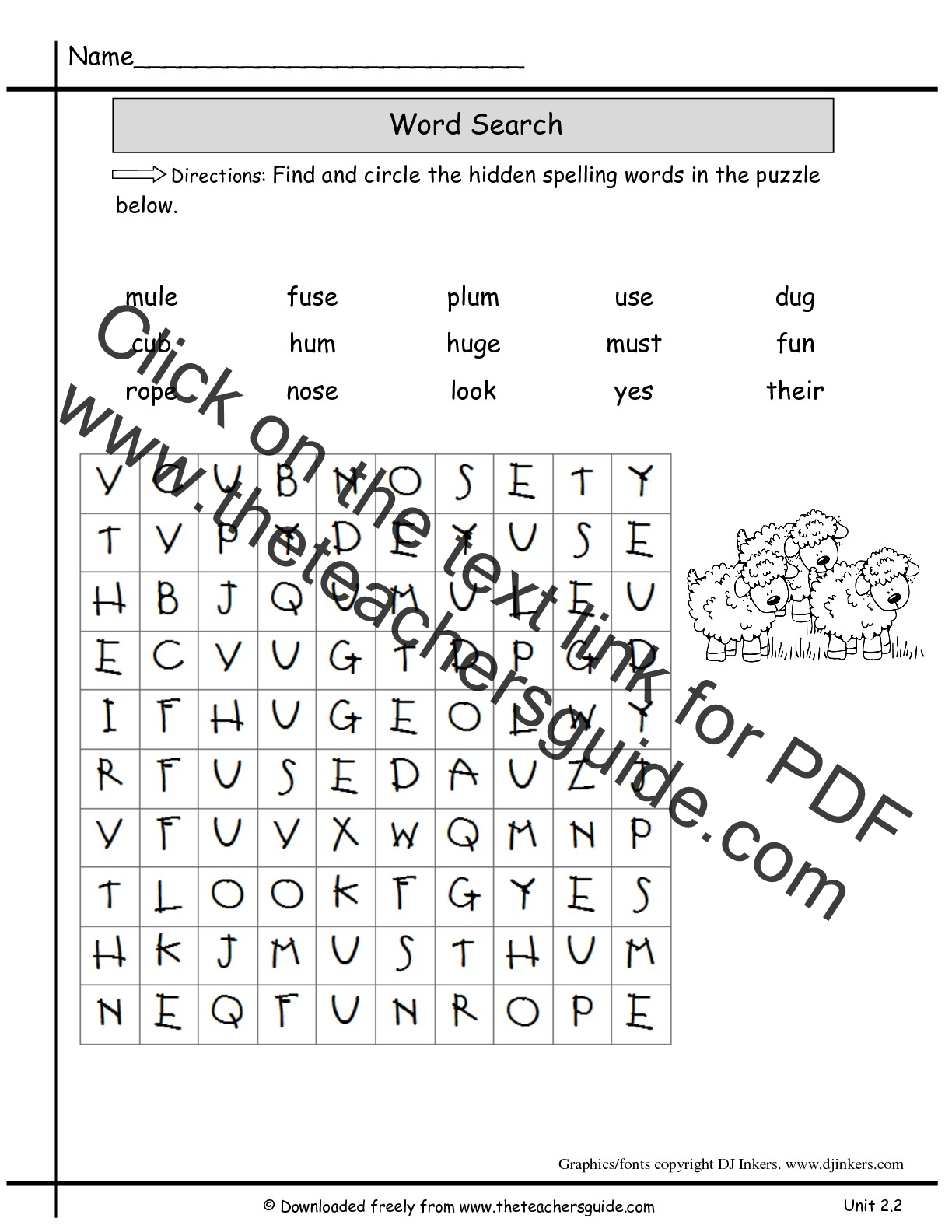 2nd Grade Spelling Test Worksheet