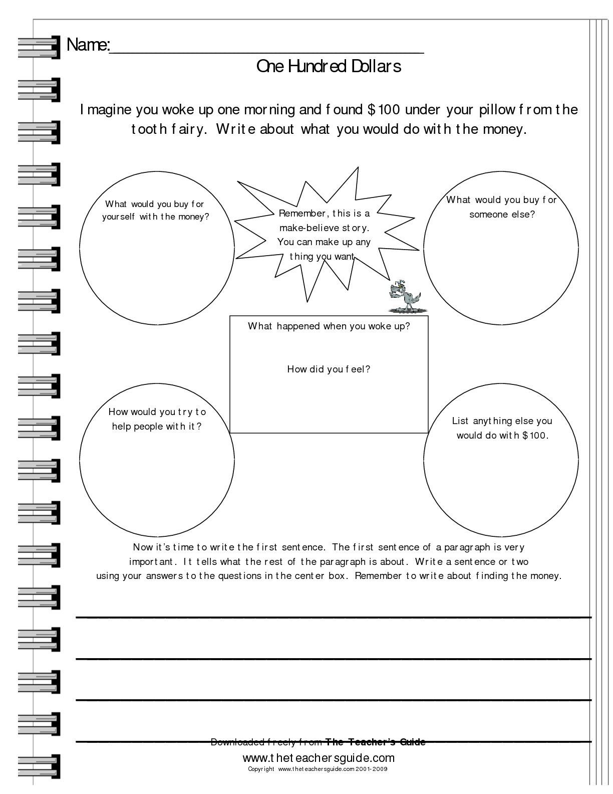 Writing Prompt Worksheets From The Teacher S Guide