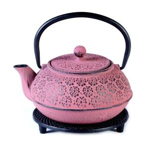 Cast iron pot pink on stand 600ml