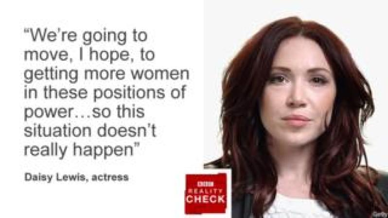 """Picture of Daisy Lewis, actress, with quote: """"We're going to move, I hope, to getting more women in these positions of power...so this doesn't really happen""""."""