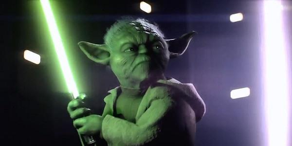 Yoda, light saber in hand.