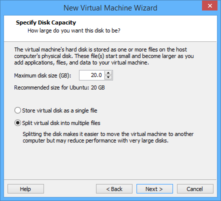 vmware-player-hard-disk-space