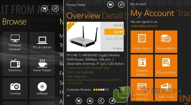 newegg app for Windows phone