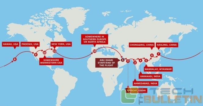 Solar impulse way map