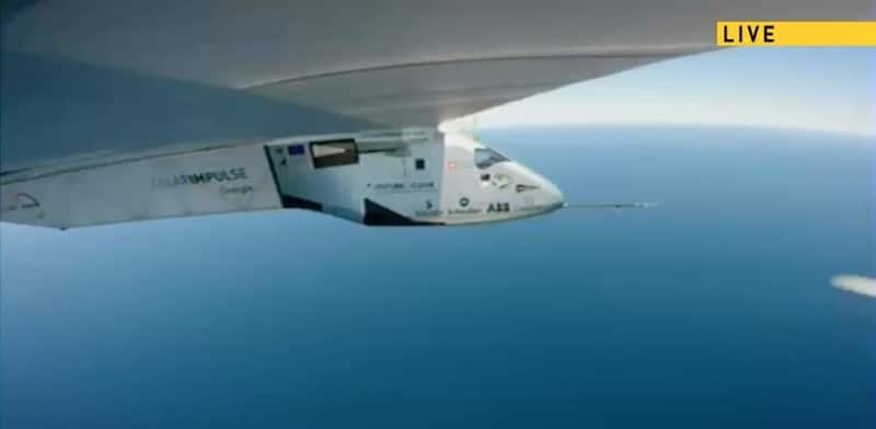 Solar Impulse 2 as it crosses the Atlantic, in a still from the live feed