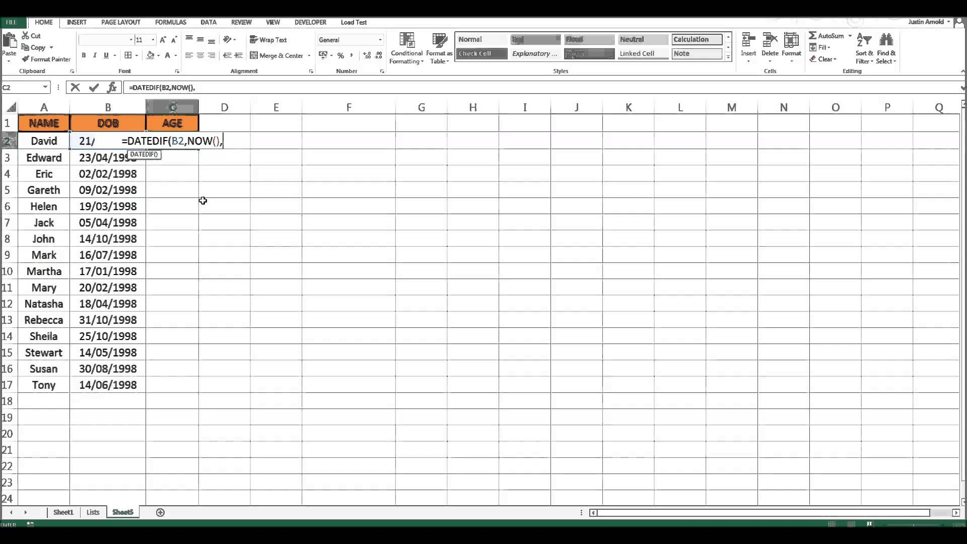 Calculate The Difference Between Two Dates In Excel