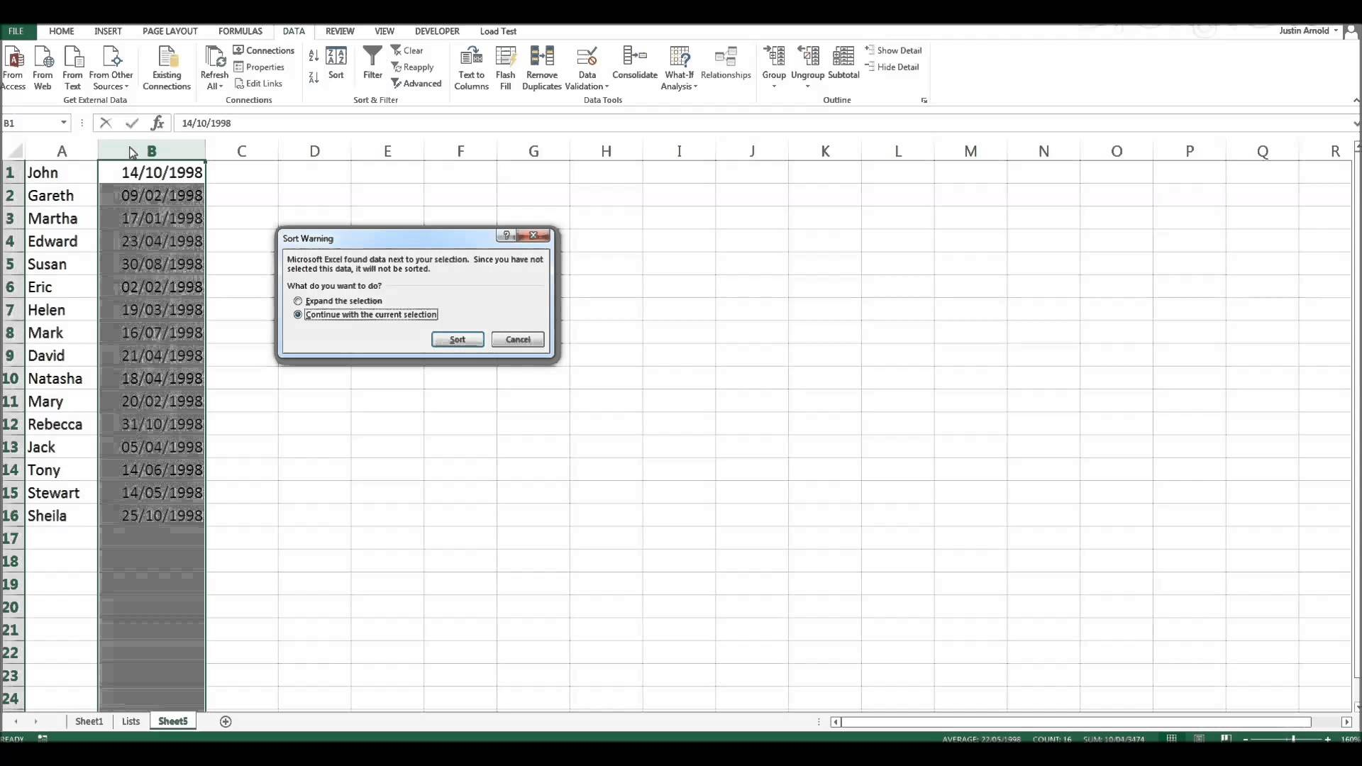 Sorting Dates Into Chronological Order In Excel