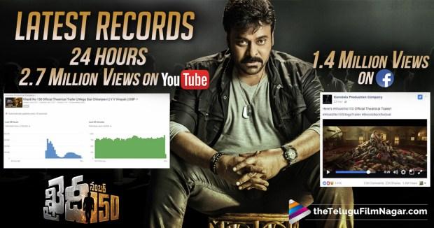 Khaidi No 150 Latest Records,Khaidi No 150 Movie Youtube Records,