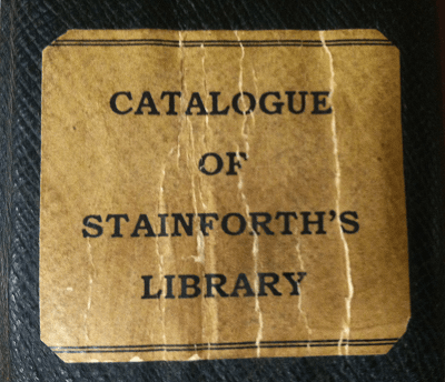 Spine label for Stainforth's catalog