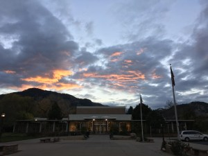 The sun sets over the Boulder Public Library on a Saturday Evening in November.