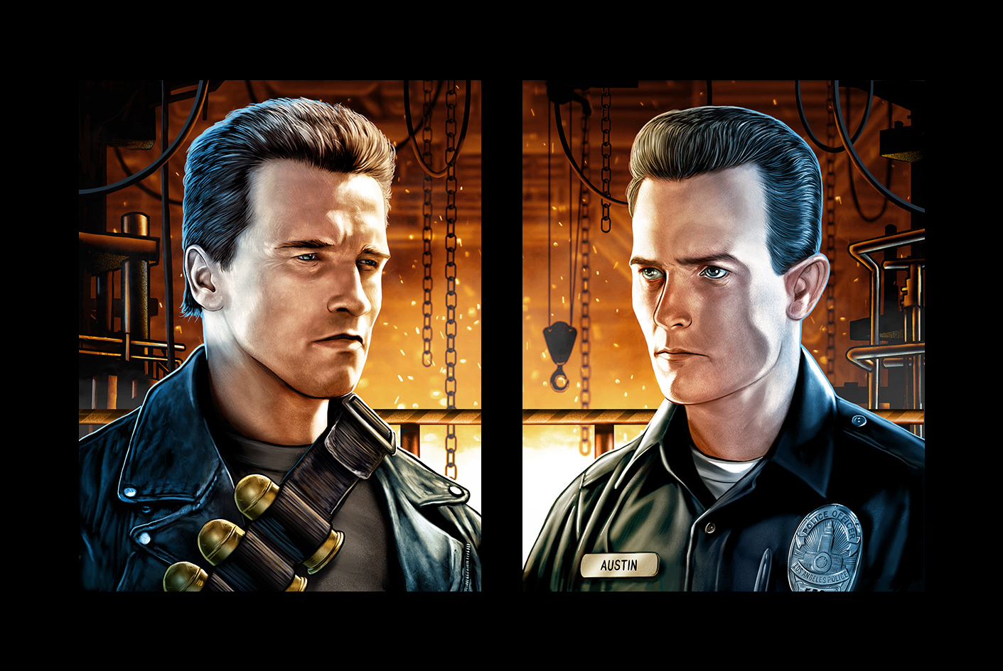 T2 Diptych Uncle Bob and Officer Austin Terminator Fan Art by Cuyler Smith