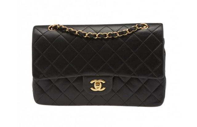 Chanel Vintage 2.55 Black Quilted Lambskin Leather Double Flap Shoulder Bag