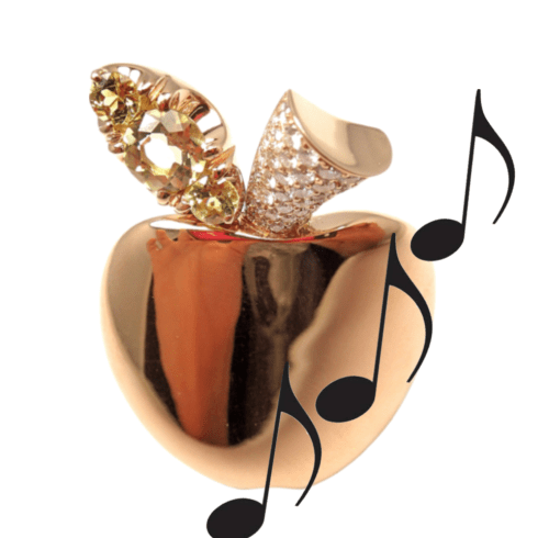 Rose Gold Apple with Diamond and music notes