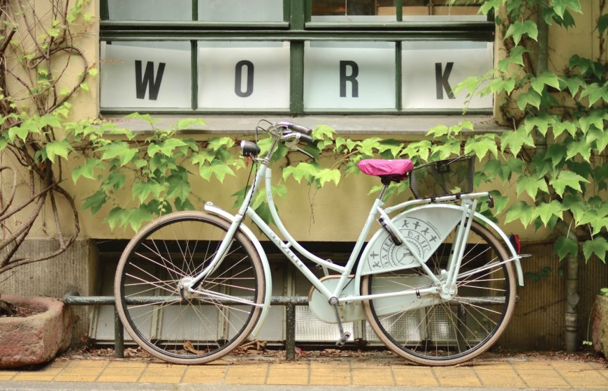bicycle and work sign