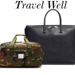 herschel camo wheelie and valextra holdall travel bags