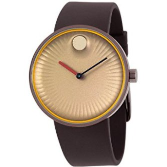 Movado Men's 40mm Brown Silicone Band Steel Case Sapphire Crystal Quartz Gold-Tone Dial Watch