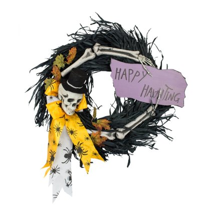 """DII Decorative Black Paper Feather & Skeleton 16"""" Happy Hunting Wreath for Front Door or Indoor Wall Décor to Celebrate Halloween"""