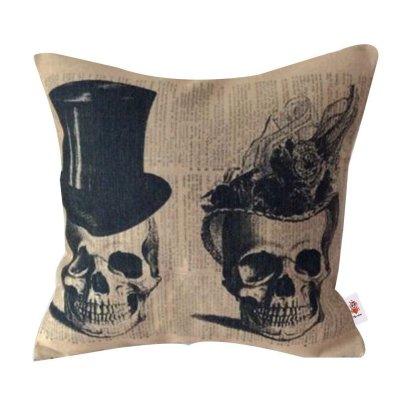 Nunubee Cotton Cushion Cover Linen Home Pillow Cover Cushion Throw Soft Pillowcase Sofa Bed Home Decorative Cushion Two Skulls