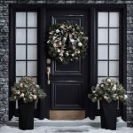 Christmas outdoor decorations wreath on door