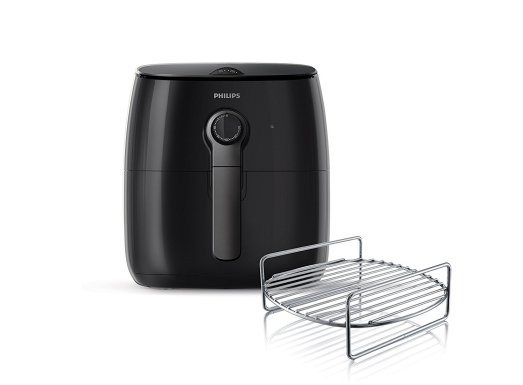 Philips Airfryer with Turbostar Healthy Fry, Cook, Bake, Grill (with 75% less fat* to deep fryers) with Double-Layer rack, Black, HD9622/96