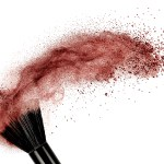 makeup brush with red powder isolated on white