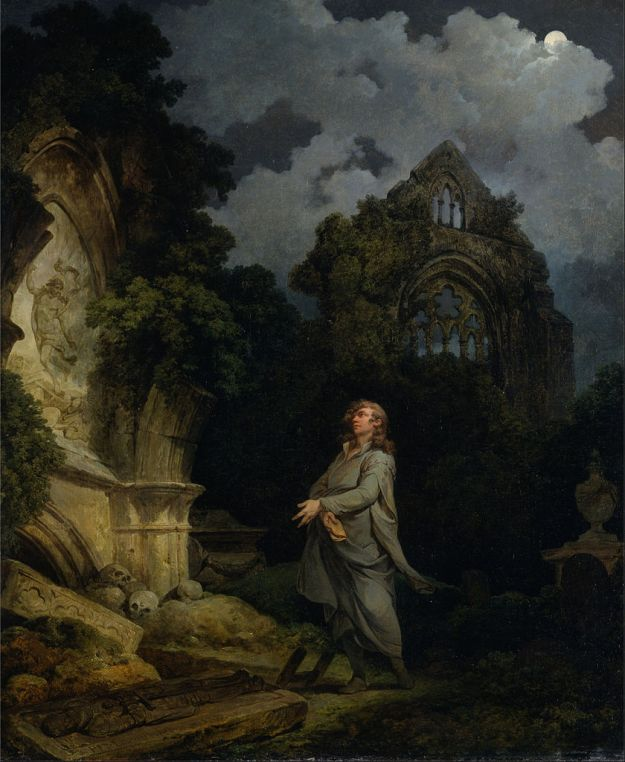 Visitor to a Moonlight Churchyard by Philipp de Loutherbourg via Google Art Project.