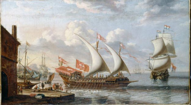 A Galley of Malta by Lorenzo A. Castro (c. 1680). Image via Wikimedia Commons.