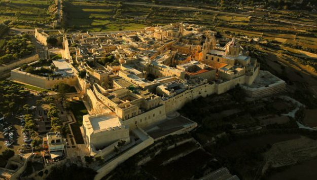 Aerial view of Mdina, Malta. Image via Wikimedia Commons.