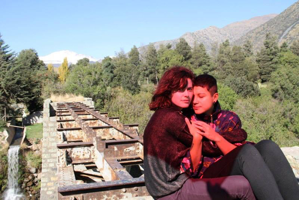Amanda Sommer and Colombian artist Julieta Triangular, co-founder of The Celestial Twins (right) on set of her new film, Soledad Acuática (2013). On an abandoned bridge in the mountains of Cajón del Maipo, Chile.