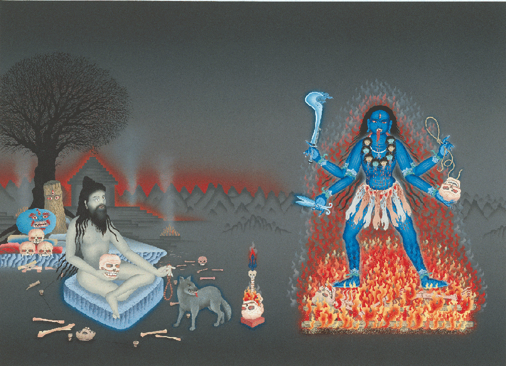 Smashan Tara, a painting by Robert Beer for Robert Svoboda's book AGHORA, AT THE LEFT HAND OF GOD.