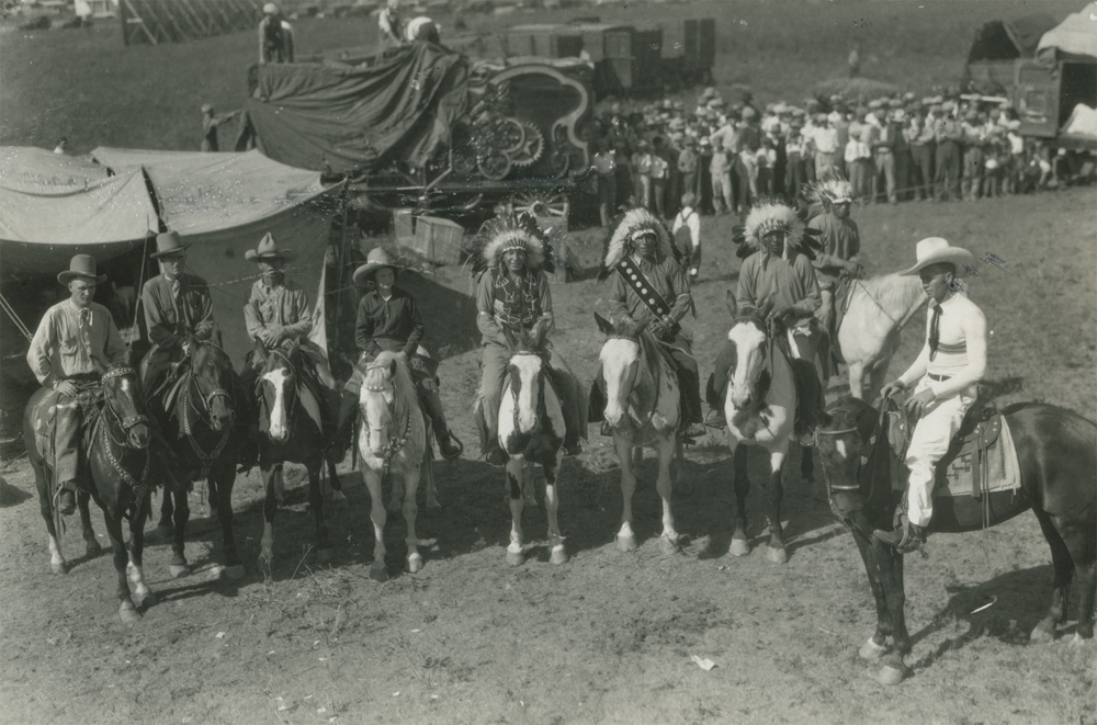 Group on Horseback, c. 1928. Horace Poolaw (1906-1984), Kiowa, Oklahoma 8 in. x 10 in. Horace Poolaw Collection, University of Science & Arts of Oklahoma.