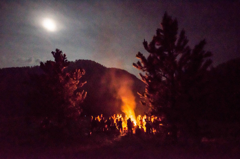 Full moon over the Rainbow Gathering in the Black Hills, South Dakota.