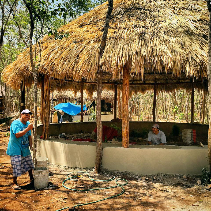 Meditation hall palapa foundation almost completed.