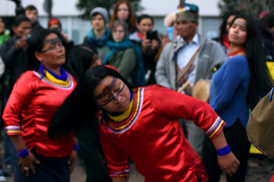 Kichwa leader Ena Santi, Mirian Cisneros, and Nina Gualinga - from Sarayaku, Ecuador.