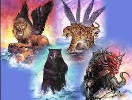 Daniel 7 4 beasts lion bear leopard diverse beast