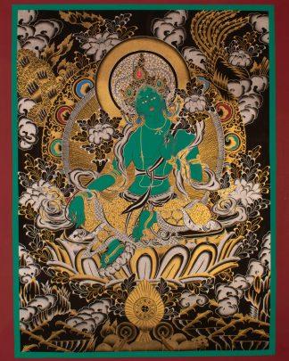Green Tara - Handmade Thangka Painting from Nepal