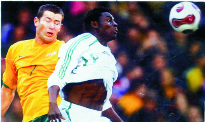Super Eagles's Obafemi Martins (right) in action. There are fears if his latest injury scare will allow him feature in Angola.
