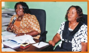 Rivers State Commissioner for Information and Communications, Mrs Ibim Semenitari (left),with  Permanent Secretary Ministry of Information and Communications, Mrs Jokotade Adamu, addressing newsmen in Port Harcourt, last Monday.
