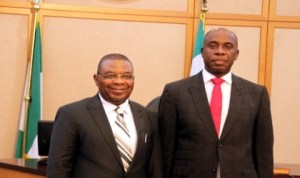Rivers State Governor, Rt. Hon. Chibuike Rotimi Amaechi (right) with Acting Chief Judge of Rivers State, Hon Justice Peter N. C. Agumagu, after his swearing-in yesterday in Port Harcourt, recently. Photo: NAN